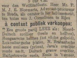 Aankondiging faillissementsverkoop Cornelissen